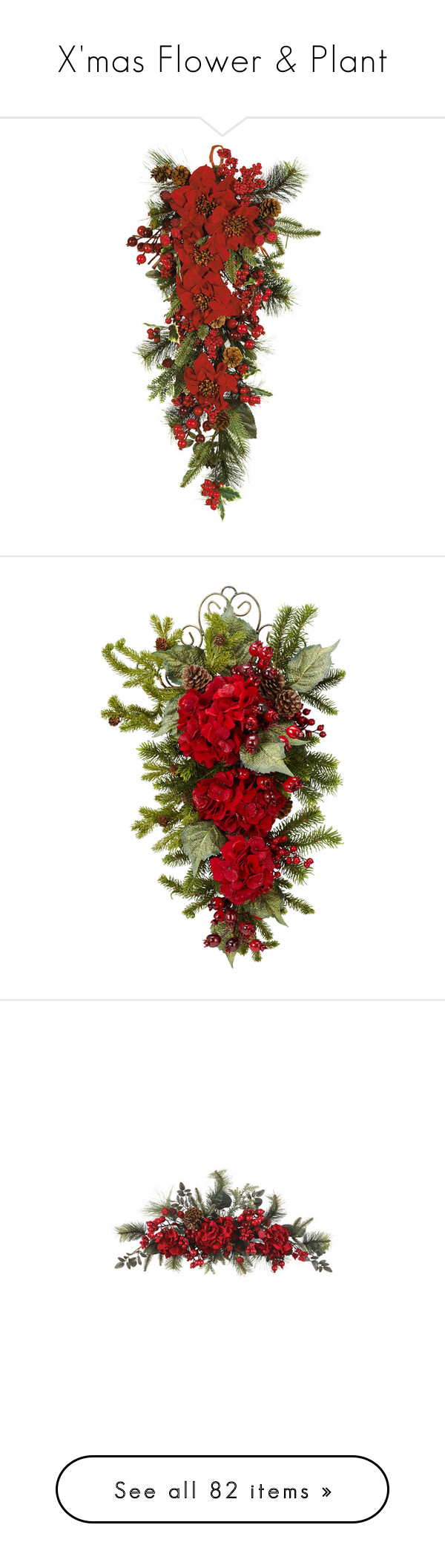 """X'mas Flower & Plant"" by papee ❤ liked on Polyvore featuring home, home decor, holiday decorations, christmas, flowers, holiday decor, holiday home decor, christmas home decor, flower stem and christmas holiday decorations"
