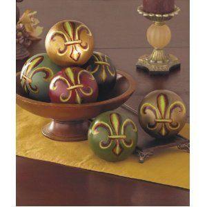 tuscan 4 colored decorative fleur de lis balls sphere orbs - Decorative Orbs