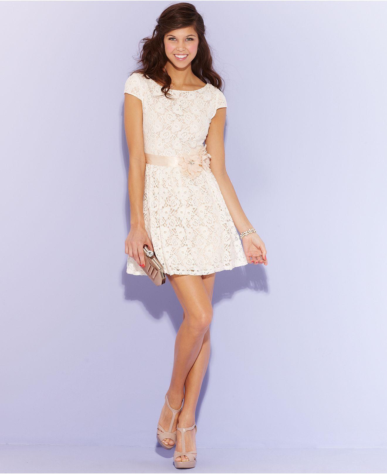 City Studios Juniors Dress, Cap Sleeve Belted Lace A-Line - Juniors Dresses - Macys Adorable $79