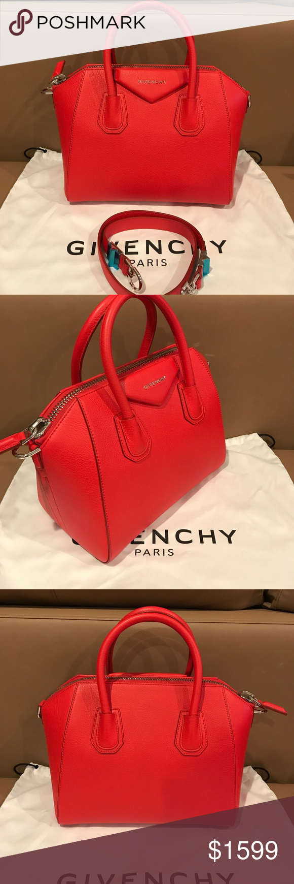 aaf6b17cd46 Givenchy Small Antigona Red Leather Satchel ! NWT New , 100% authentic  Givenchy Small Antigona