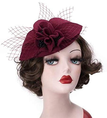 Buy Round Top Pillbox Fascinator Hat Floral Veil Hat Style Race Party Wedding Fedora online #fascinatorstyles