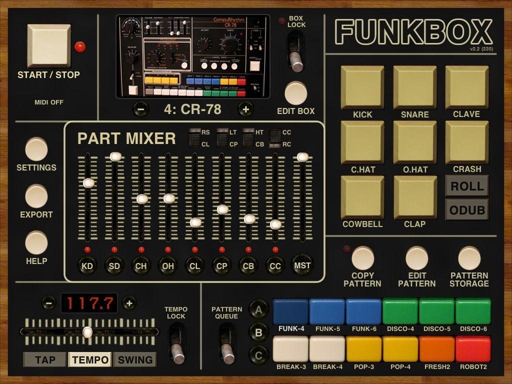 Funk Box This Beat Maker Is Old School Drum Machine Drums Music App
