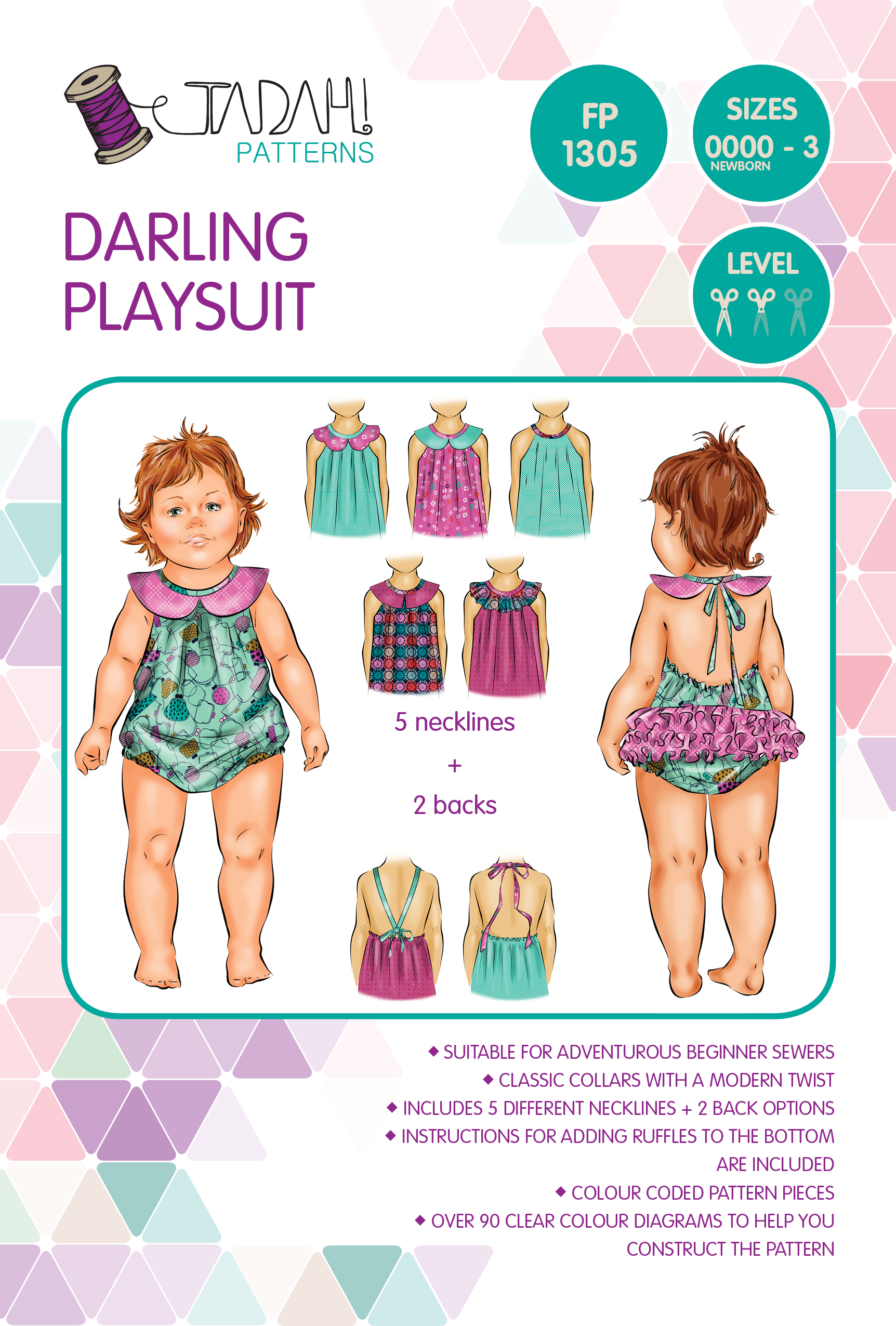 Darling Playsuit Pattern Sizes Newborn
