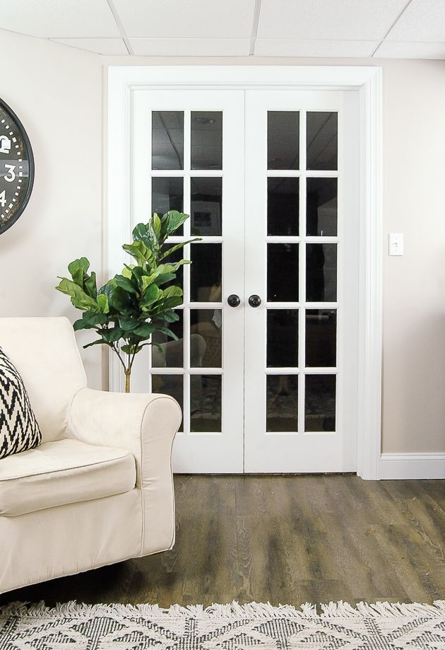 The Power of Paint Dark Painted Interior French Doors is part of French doors interior, Door design interior, Discount exterior doors, Metal doors exterior, Folding doors interior, French doors - Painting your interior doors dark can instantly add contrast and style for an easy and affordable update! darkpainteddoors ironore sherwinwilliams blackdoors