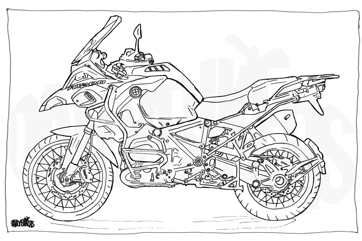 Adult Colouring Page Motorcycle Illustration