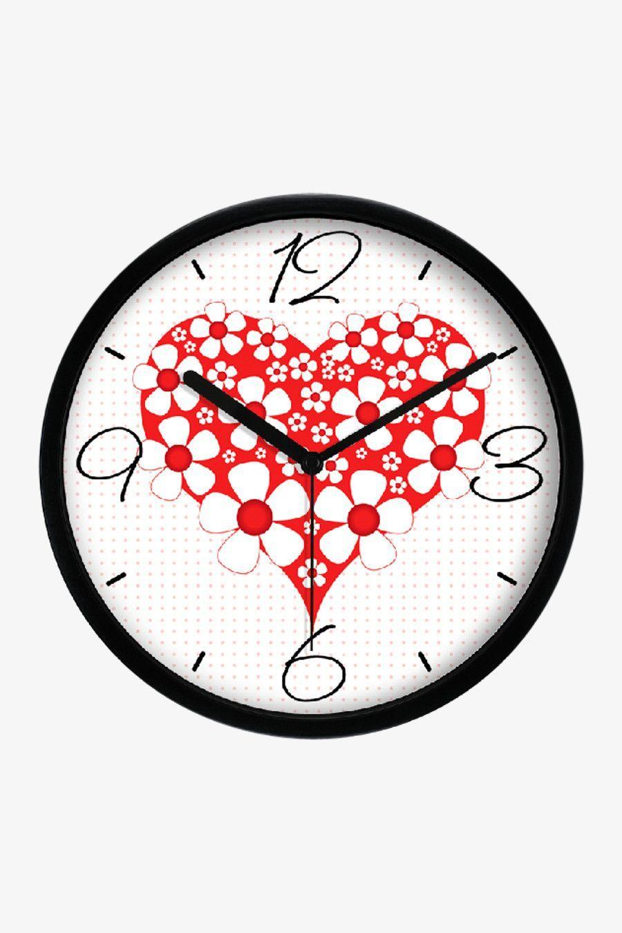 Floral Heart Clock Black Clock Fashion Art Wall Clock
