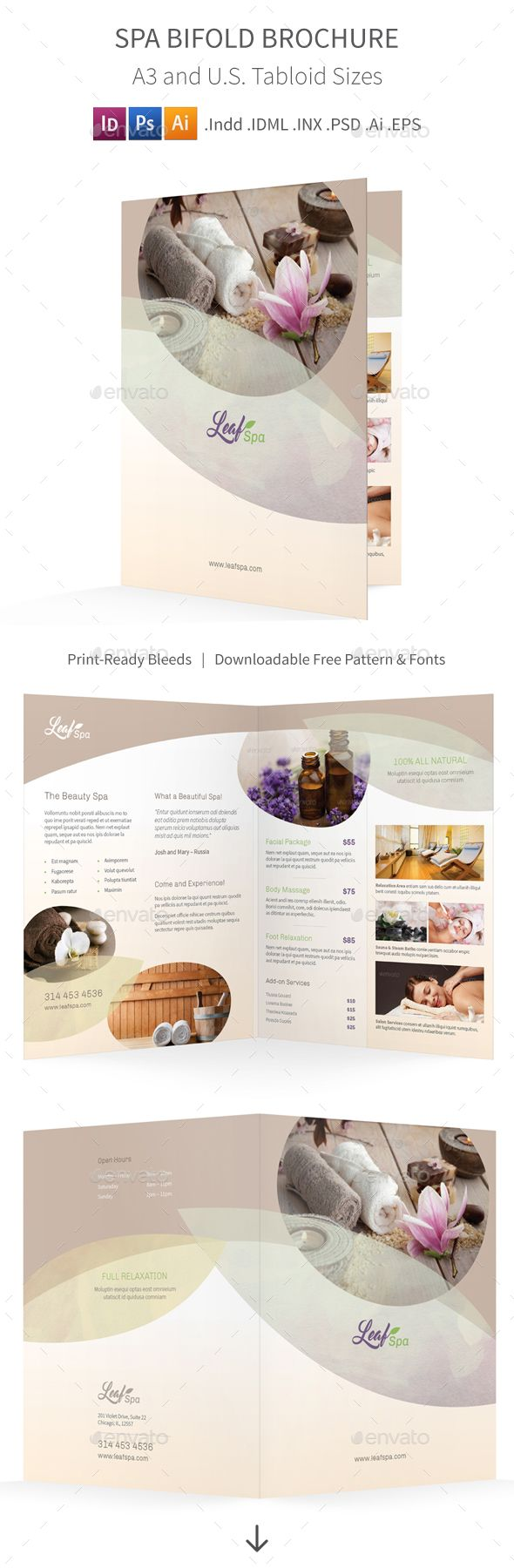 Spa Bifold  Halffold Brochure   Brochure Template Brochures