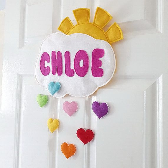 Personalised Door or Wall name sign cloud and rainbow by MinXtures & Personalised Door or Wall name sign cloud and rainbow hearts name ...