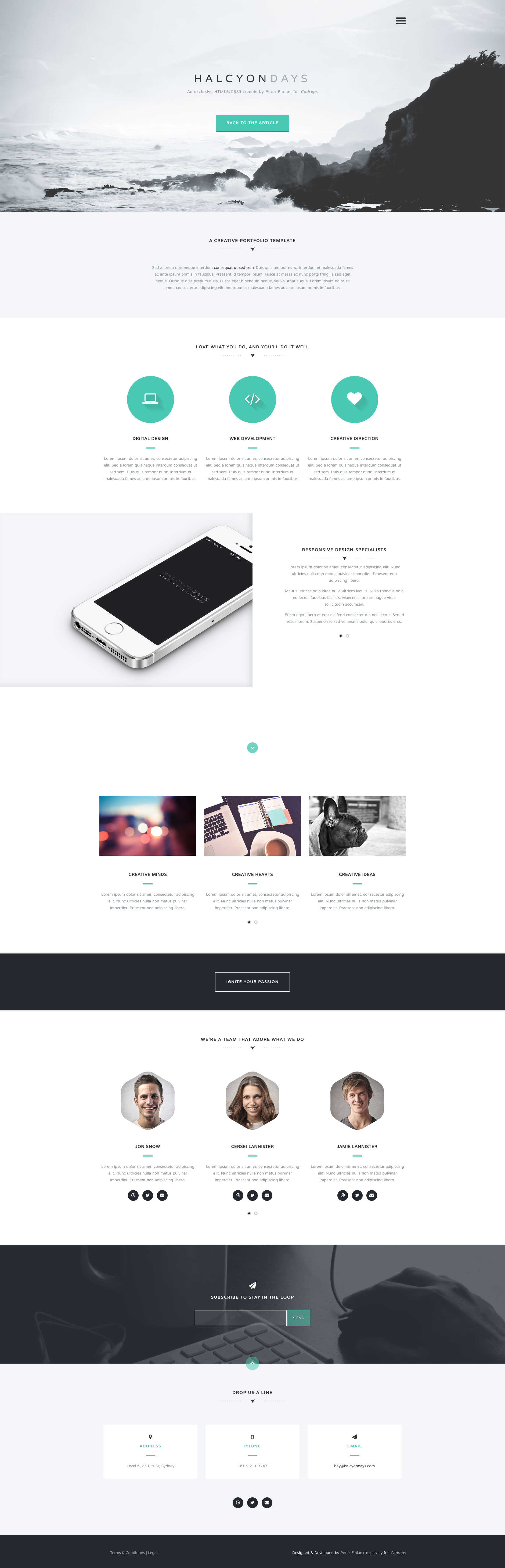 Halcyon Days Is A Minimalist Free Responsive Html5 One Page Website
