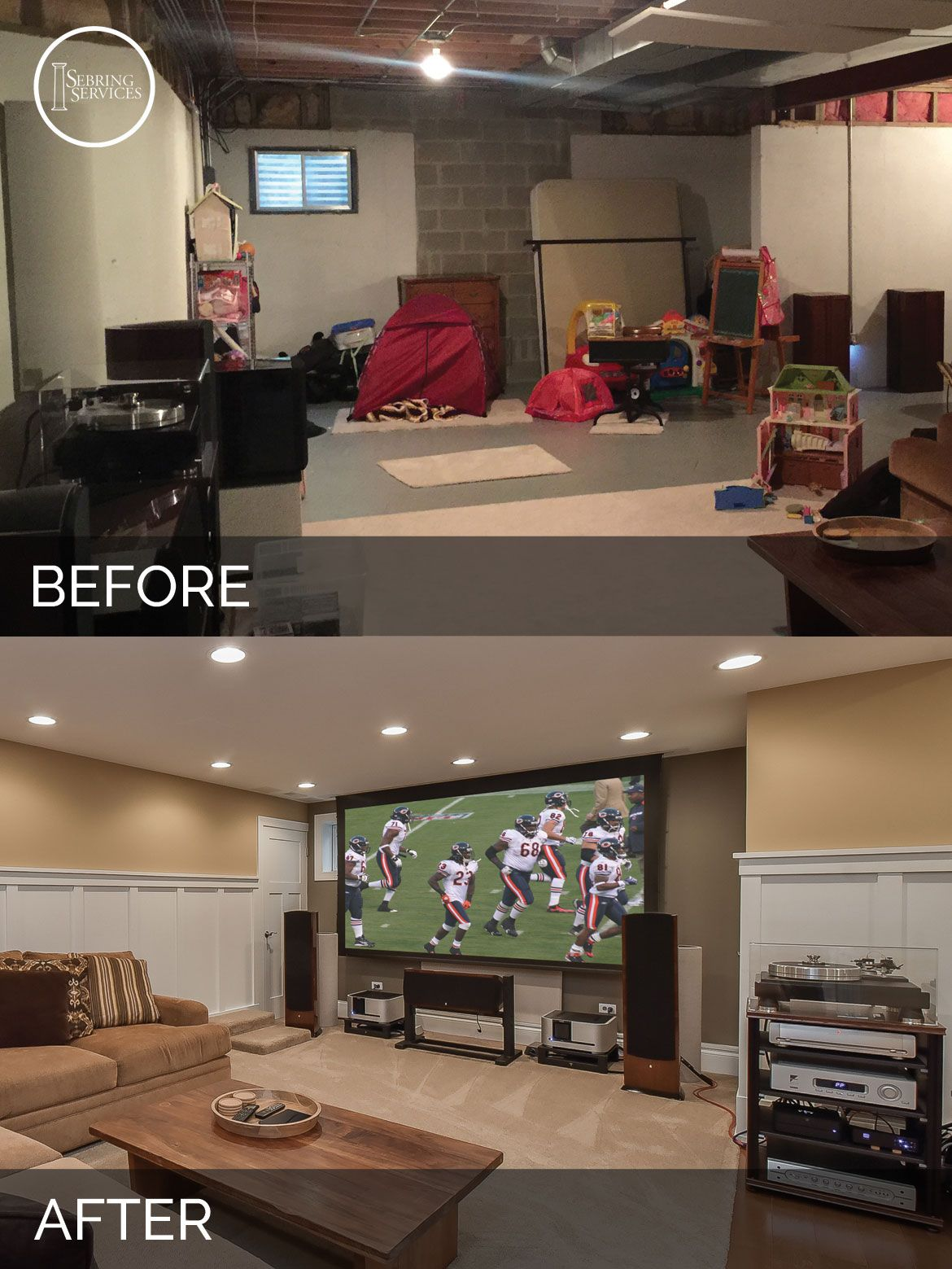 naperville basement before and after remodeling sebring services house pinterest. Black Bedroom Furniture Sets. Home Design Ideas