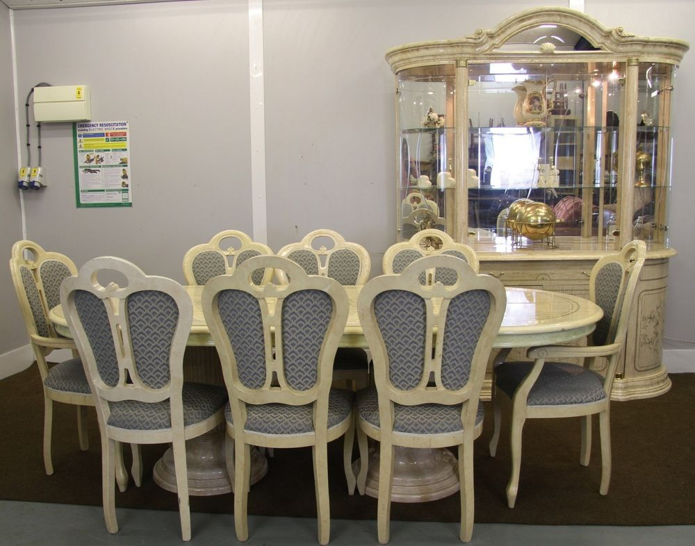 Italian Marble High Gloss Dining Room Suite Ta Ble 8 Chairs