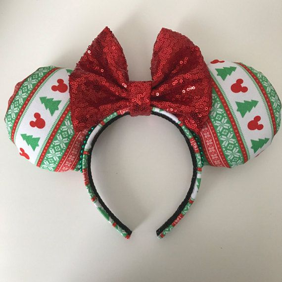 Disney Inspired Ugly Christmas Sweater Minnie Mickey Mouse Ears