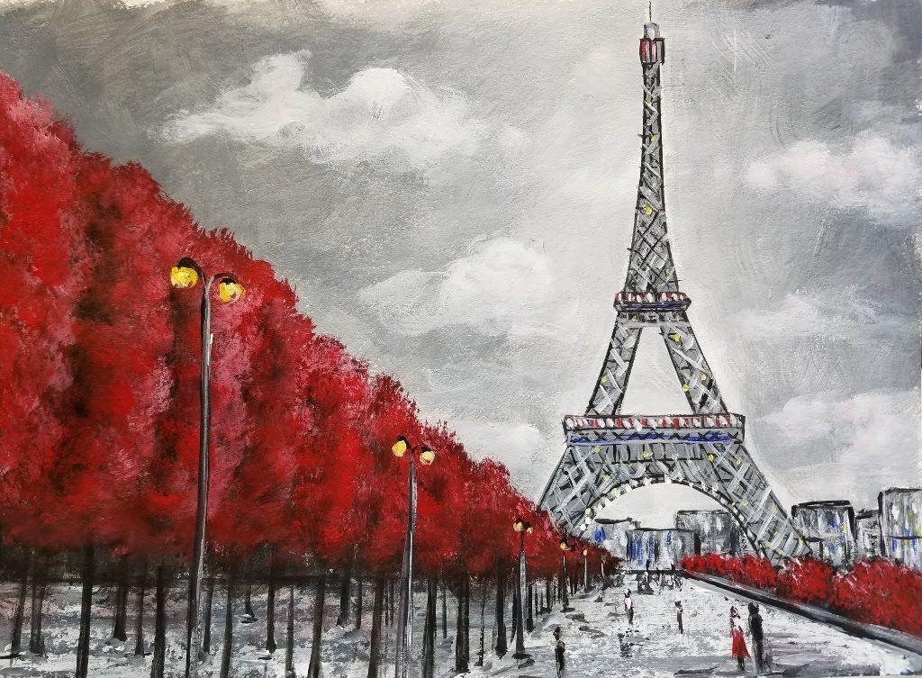 Easy Eiffel Tower Acrylic Painting | Impressionist Beginner Paris Art Ci...