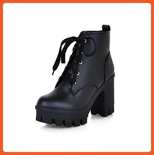 AmoonyFashion Womens Solid High Heels Round Closed Toe Pu Lace-up Boots