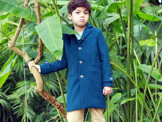 f14d33fc91dd Classic wool boys coat with removable hood  Winter coat  Boys wool ...
