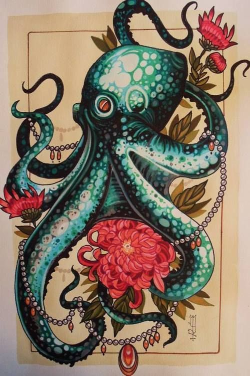 Octopus drawing by tattoo artist Mister P art unique animal