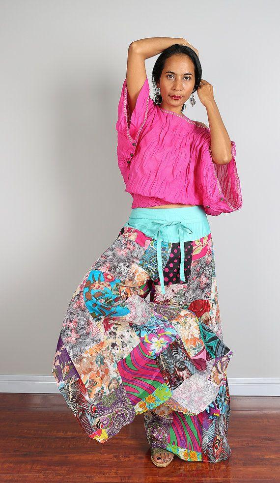 Patchwork pants  - Womens Wide leg boho pants : Boho Patchwork Collection