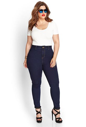Dark Wash High-Waisted Denim Skinny Jeans (Regular) | FOREVER21 ...