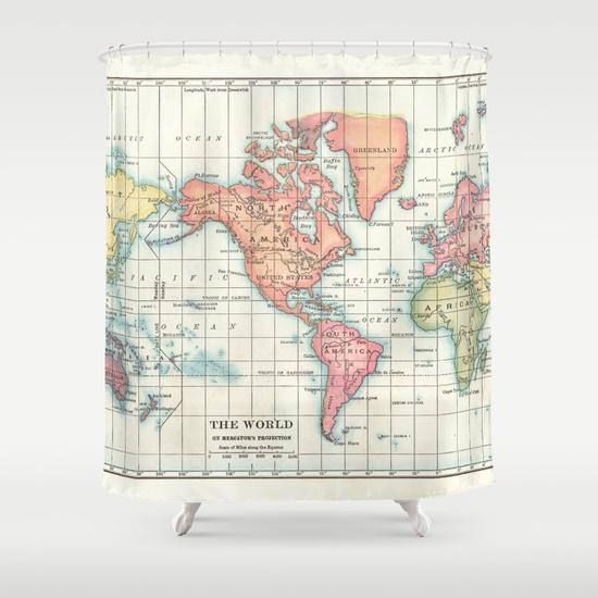World Map Shower Curtain Historical Vintage Map Of Continents Colorful Home Decor Bathroom Geography History Travel Cream Green Map Fabric Map Shower Rod