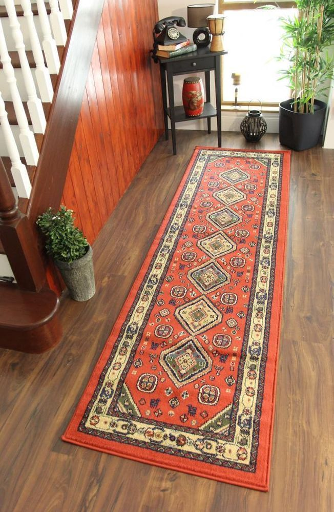 Traditional Design Mat Rust Orange Cream Long Hallway Afghan Style Runner Rug
