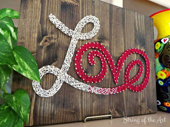 DIY String Art Kit - Love Sign - Includes Nails, Red and White String, Stained Wood, Instructions, and Pattern