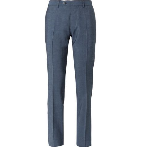 Navy Slim-fit Garment-dyed Wool And Mohair-blend Suit Trousers Caruso D3SMBufYDC