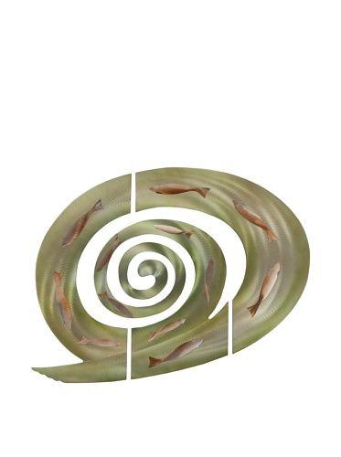Nova 3-Piece Tidal Swirl Wall Art, Green/Rust