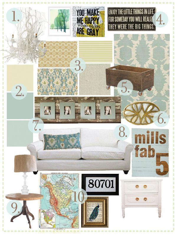 living room inspiration board via handmade home