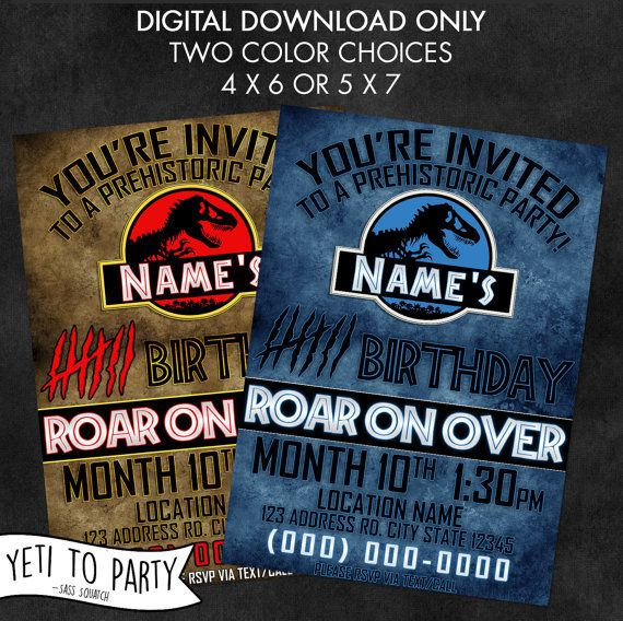Digital Printable Birthday Invitation Dinosaur Jurassic Park World Party Inspired Invite By Yeti To