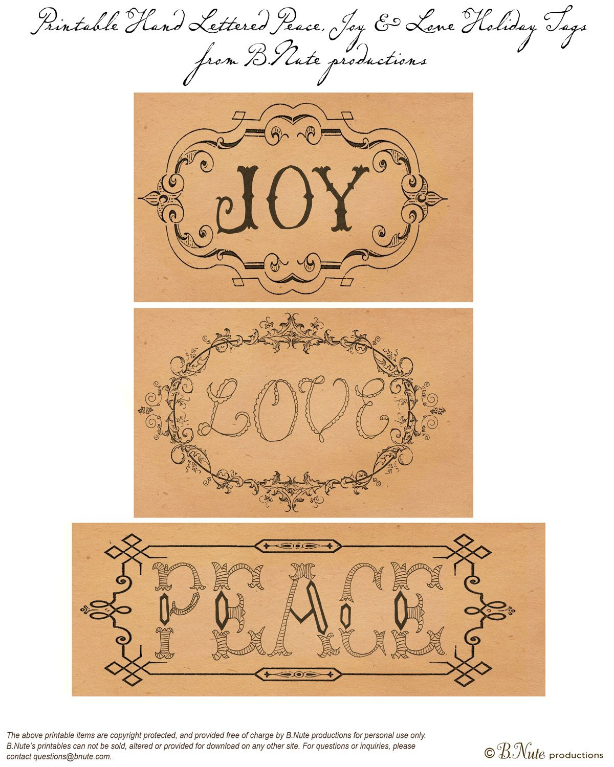 Bnute Productions Free Printable Holiday Tags Peace Love Amp Joy Hand Letterered