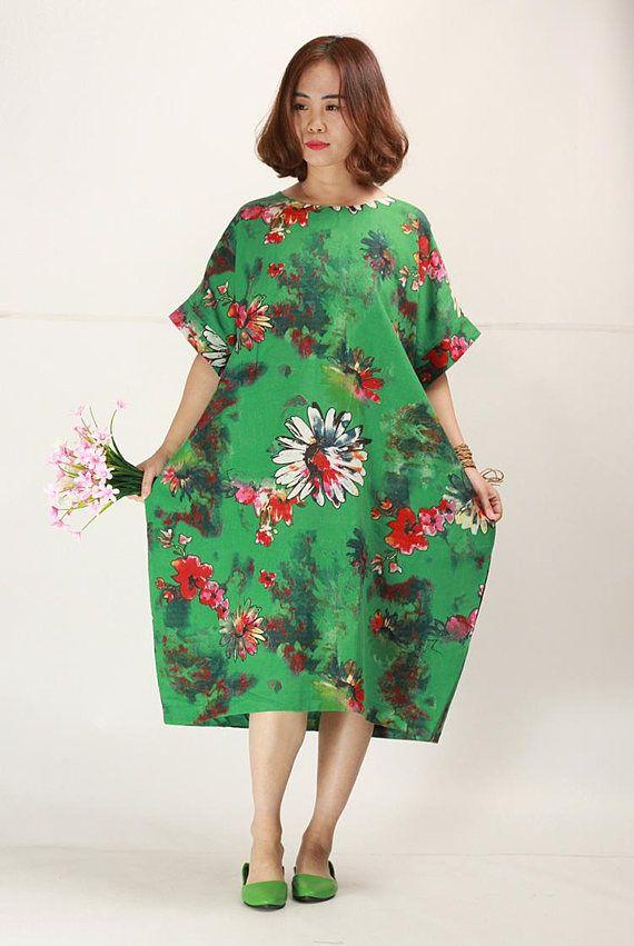 3a7205139e The summer Jade Green floral linen dress plus size sundress baggy cotton  dresses casual oversize caf