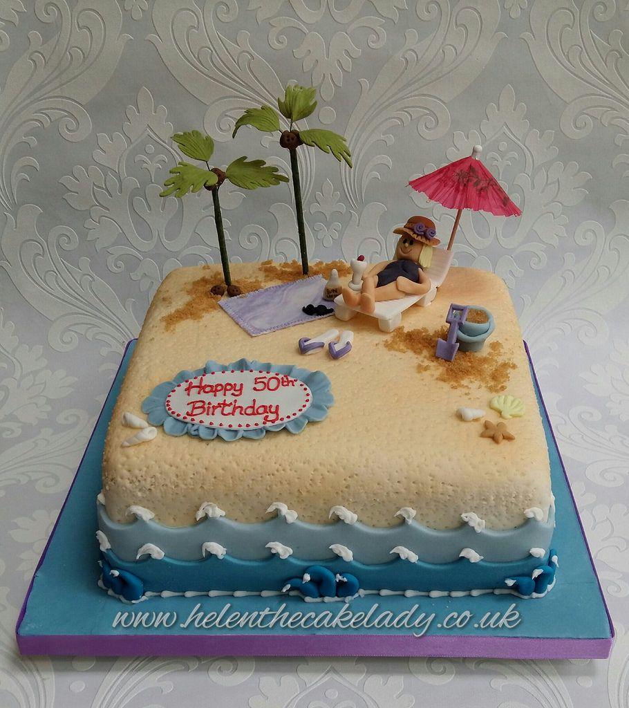 Holiday Beach Birthday Cake With Images Beach Birthday Cake