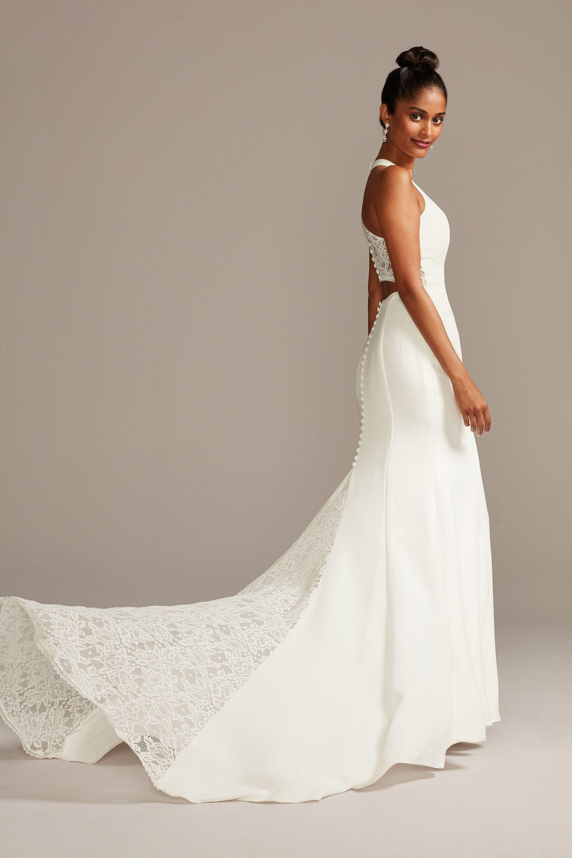 Sheer Back Crepe Wedding Dress With Lace Train David S Bridal Petite Wedding Dress Glamourous Wedding Dress Wedding Dresses Lace [ 2880 x 1920 Pixel ]