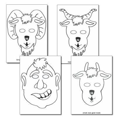 The Three Billy Goats Gruff Colouring in Masks preschool