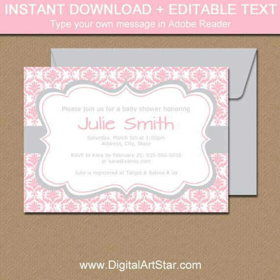 Pink And Silver Baby Shower Invitation Template Pink And Silver