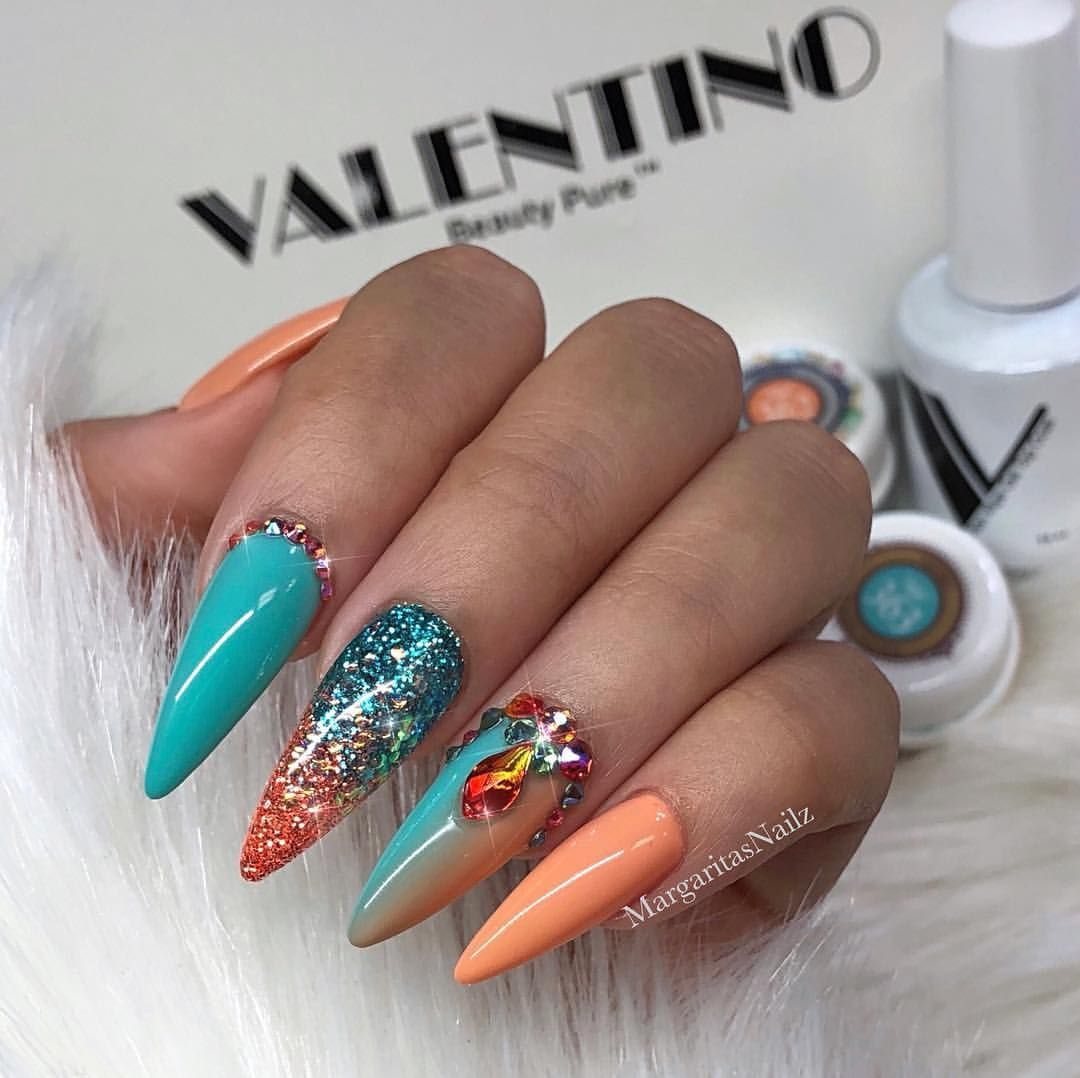 Mint Green And C Ombré Nail Art Design Spring Stiletto Nails Glitter Fashion Summer Almond