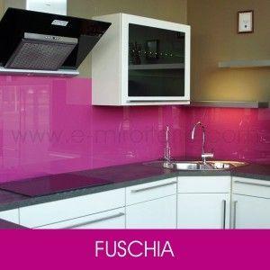 verre laqu sur mesure rose fuschia pour crdence de cuisine