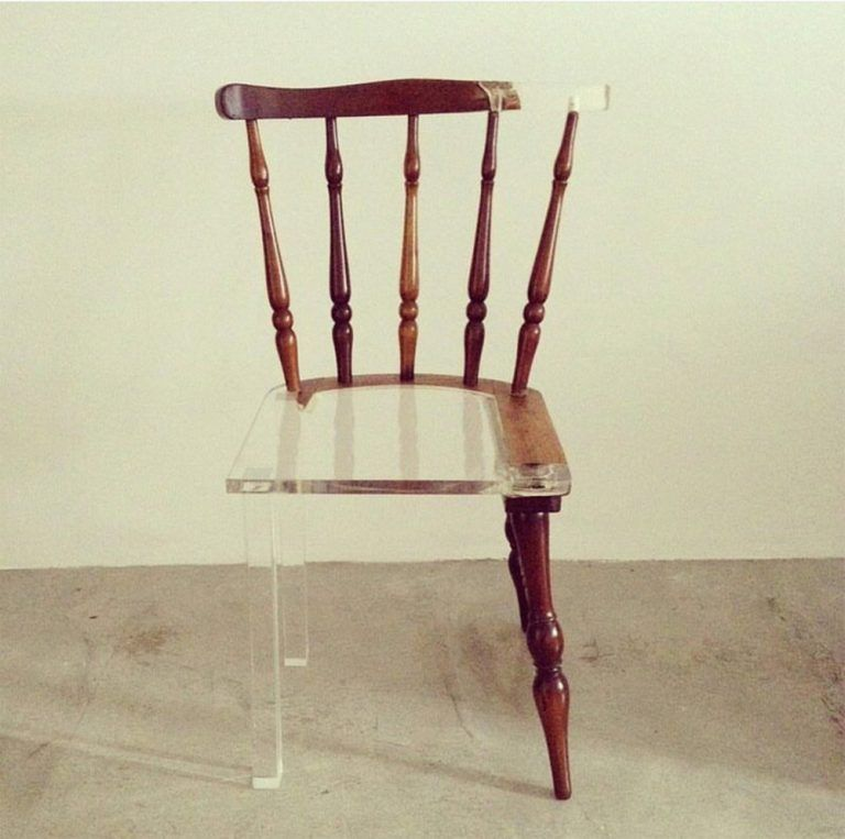 My New Old Chair Artist Fixes Broken Wood Furniture With Opposing Materials Old Chair Old Chairs Chair