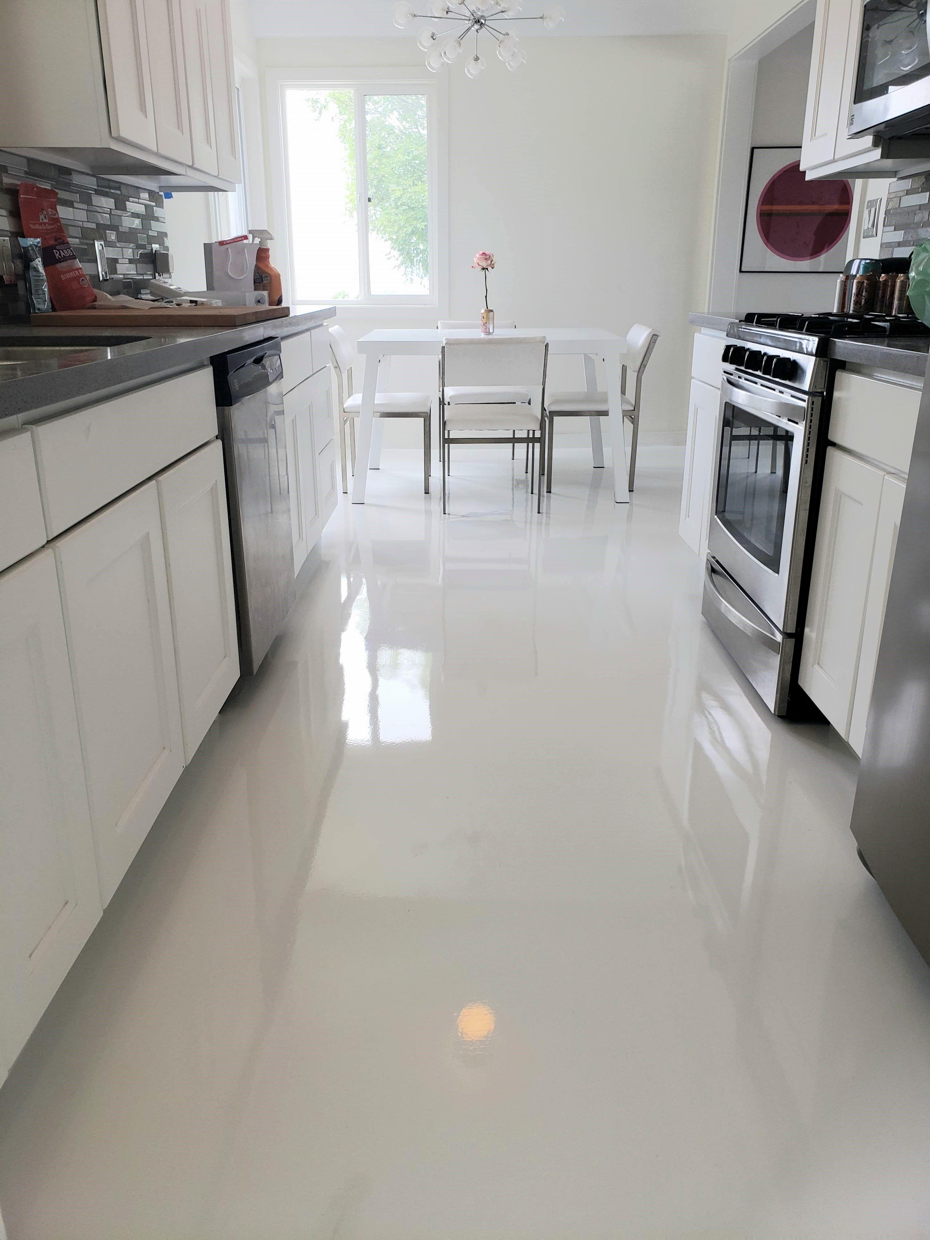 White Epoxy Kitchen Epoxy Floor Flooring Kitchen Flooring