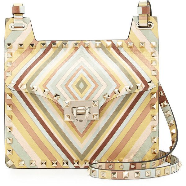 Valentino Rockstud Geometric Striped Shoulder Bag ($1,269) ❤ liked on Polyvore featuring bags, handbags, shoulder bags, handbags shoulder bags, multi colors, hand bags, man bag, leather purses, leather shoulder bag and white purse