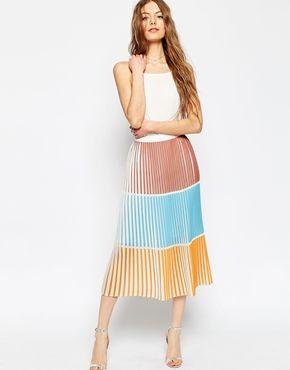 9085140c4 ASOS Pleated Column Skirt in Colourblock | Wedding Season | Asos ...