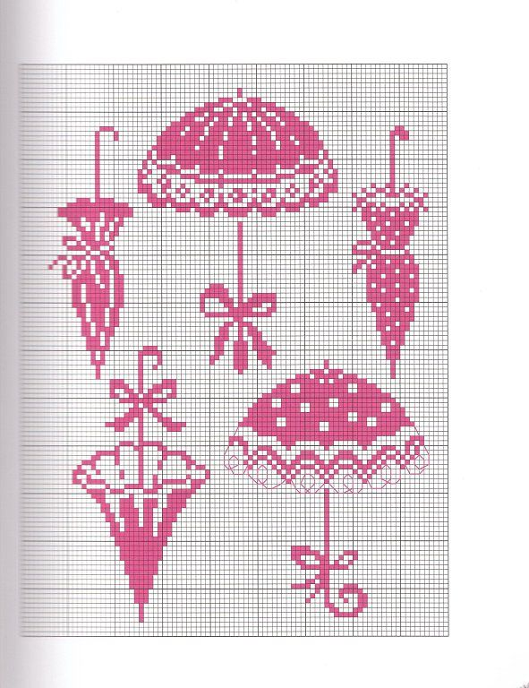Sandrinha Ponto Cruz: Monocromáticos   paraguas y sombreros   Punto ...