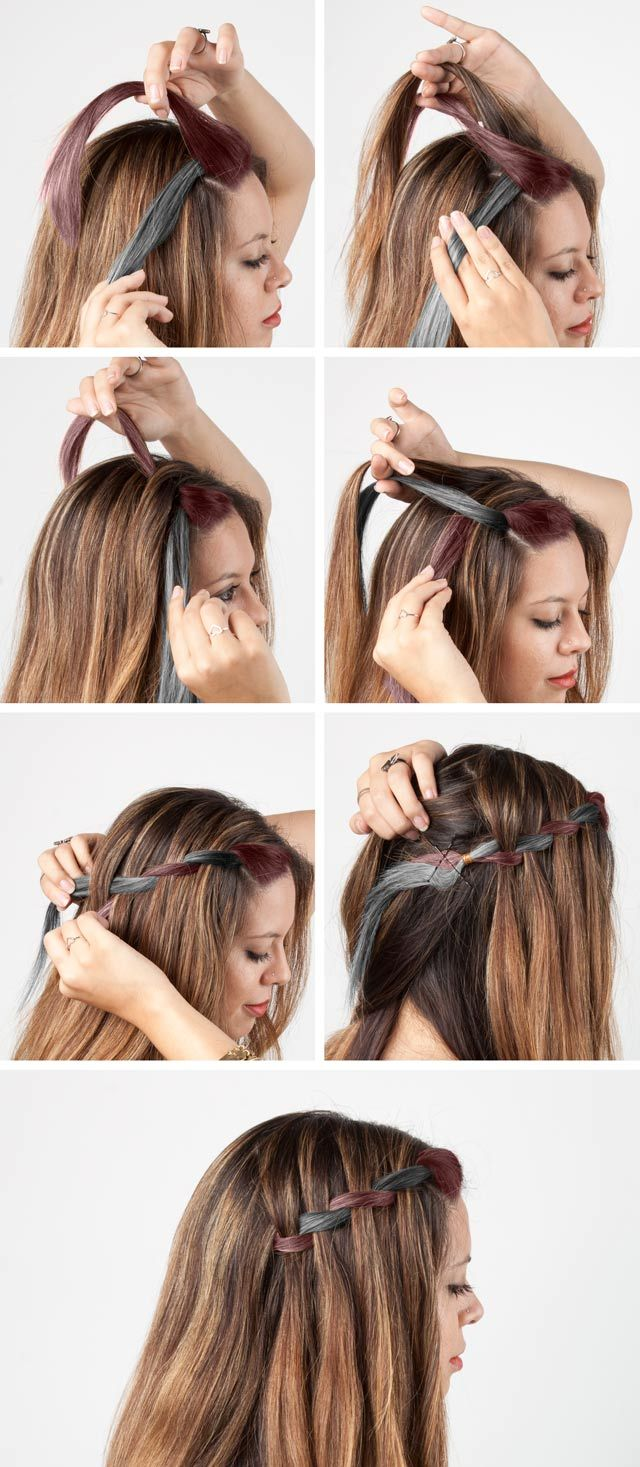 DIY Braids Waterfall Braid Steps The Style Canvas Pinterest - Braided hairstyles for short hair step by step