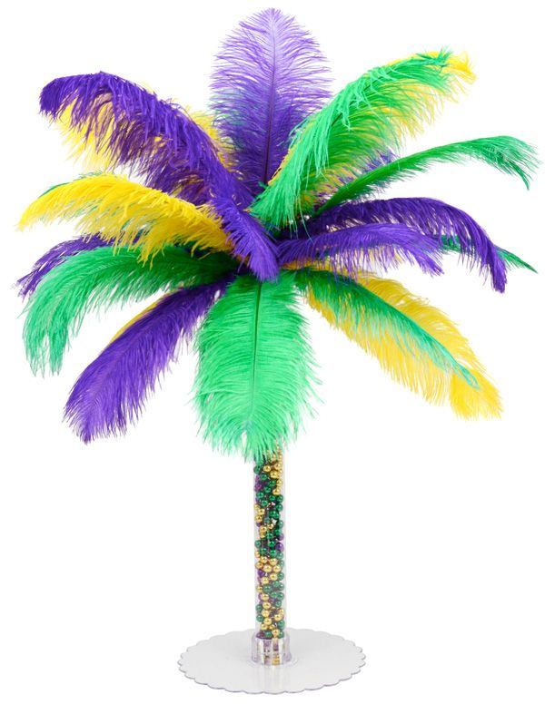 DIY Feather Tree Centerpiece tutorial for Mardi Gras or Masquerade party. Ostrich feathers and beads!