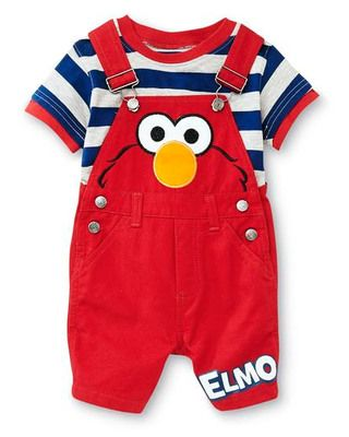 7e0a0e8a8 Baby will have a tickle me tummy while wearing this super-cute #Elmo Sesame  Street overall set!