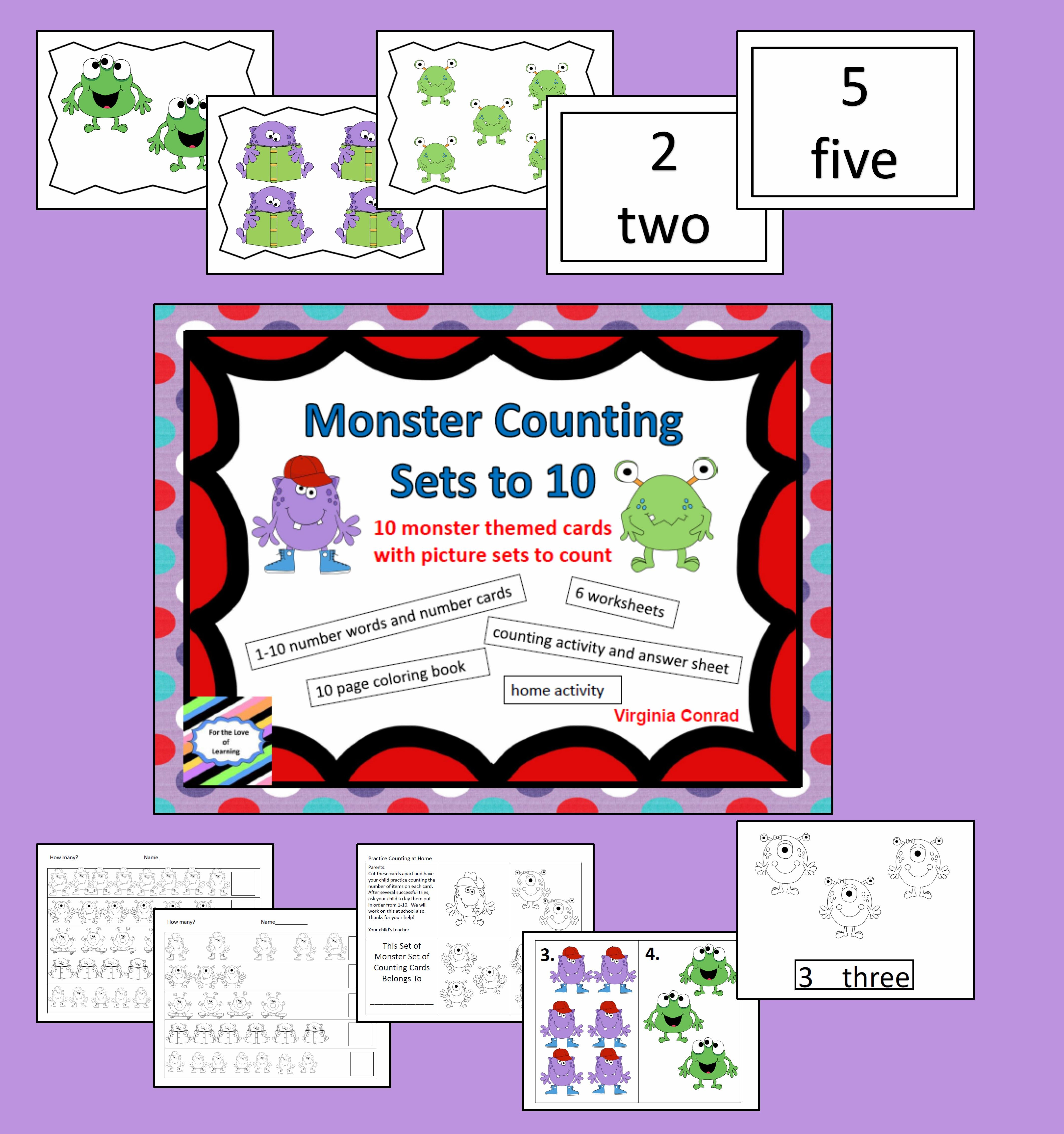 Monster Counting 1 10 Activities Amp Worksheets