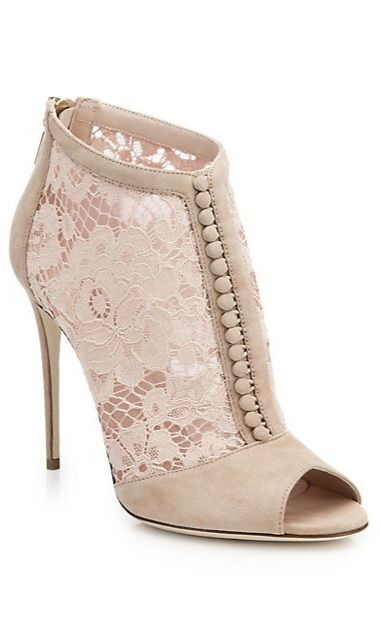 Dolce & Gabbana Lace & Suede Open-Toe Booties