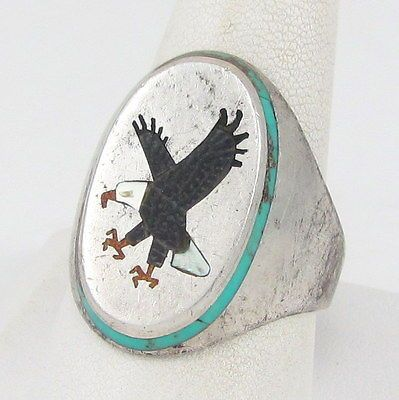 Bold-Navajo-BILLY-BEGAY-Sterling-Silver-Mosaic-Eagle-Inlay-Ring-Size-13-G-R