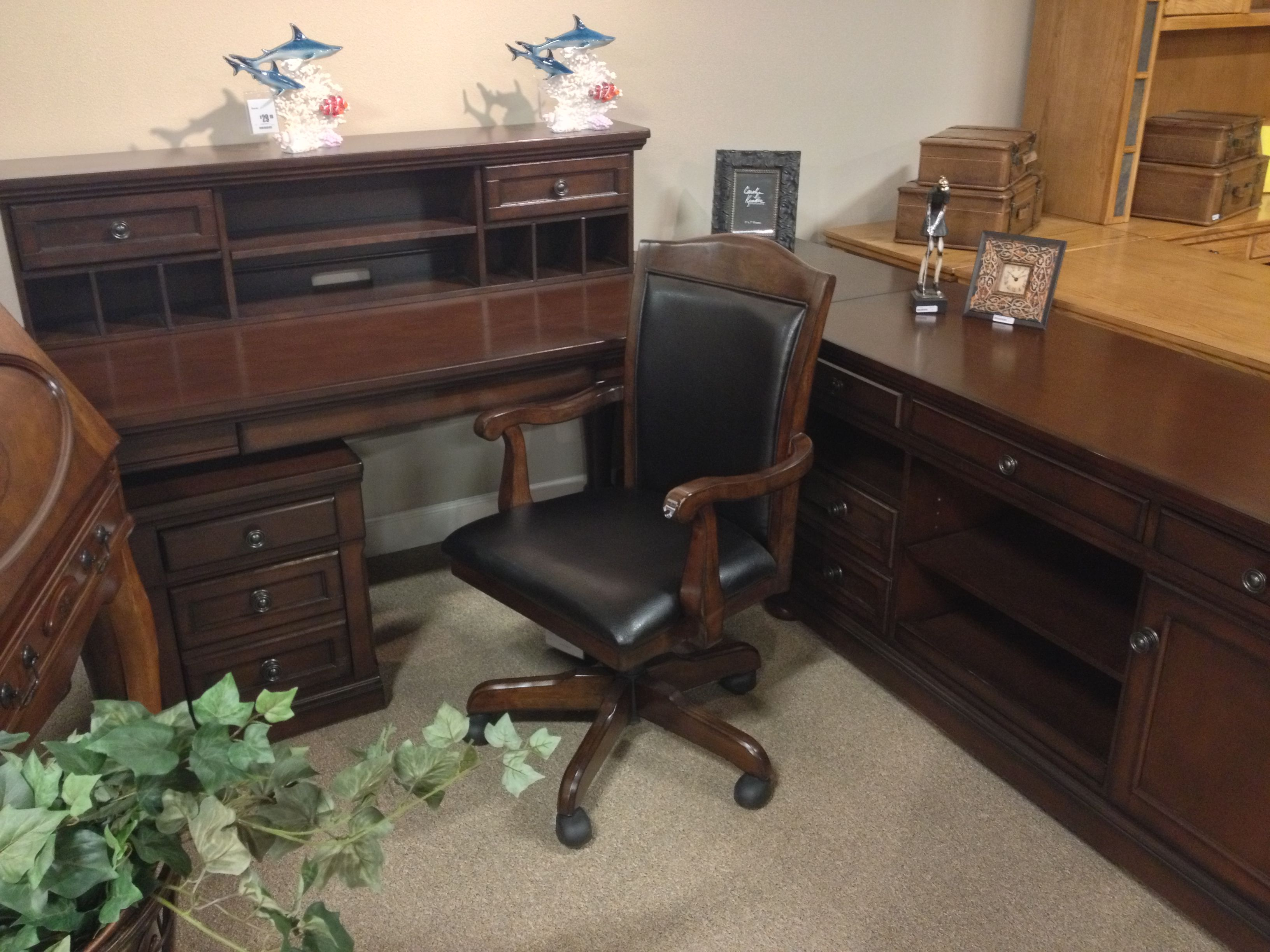 Porter 5 Piece Home Set Includes Office Large Leg Desk Credenza File Cabinet Short Hutch Corner Table At Your Ashley