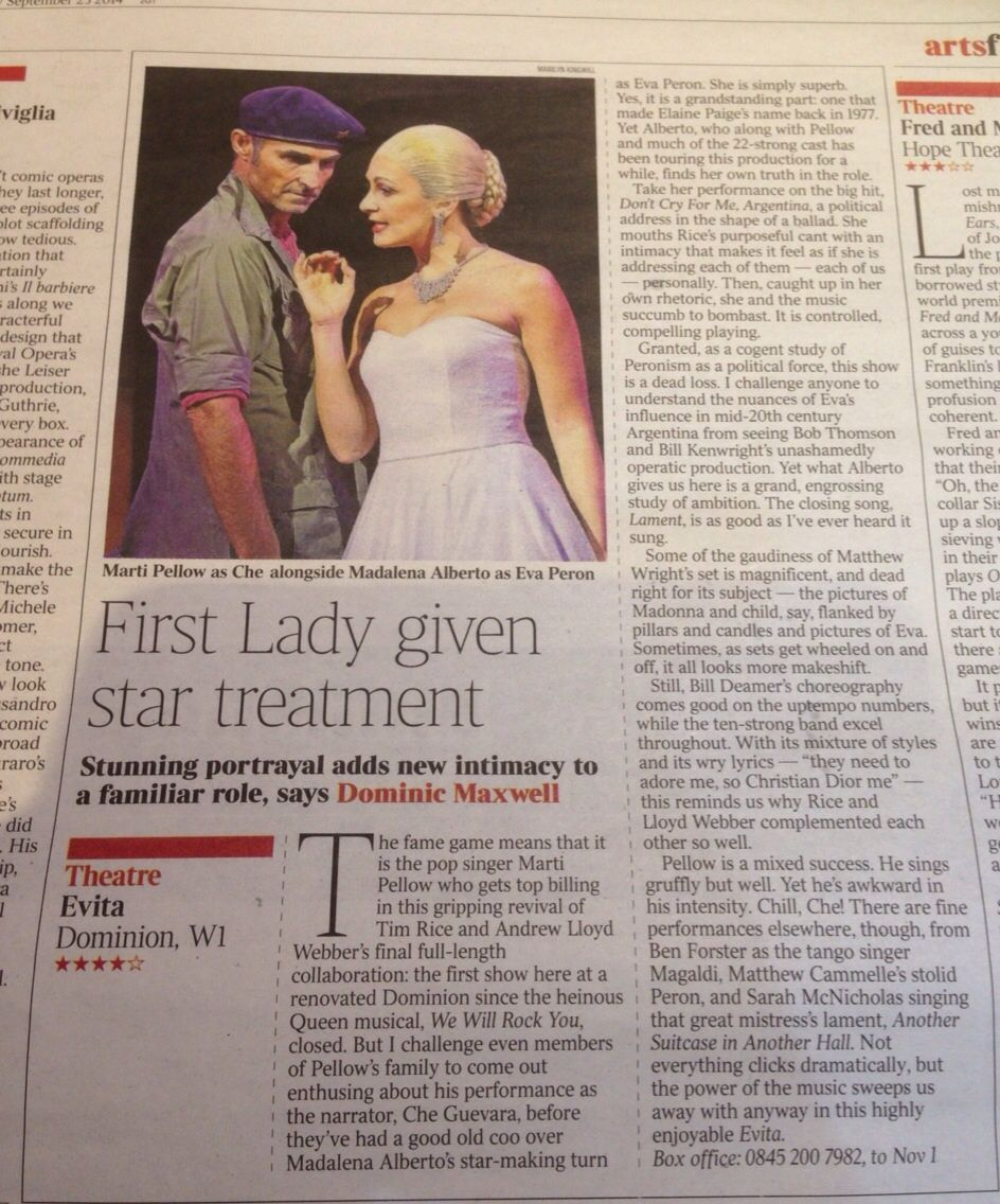 4 Star Review on The Times. 23rd September 2014. http://www.madalenaalberto.com